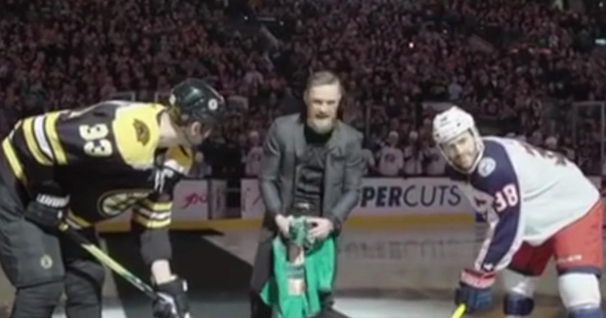 3c5200a31c3 Conor McGregor Drops Ceremonial Puck At Bruins Game after Rousing Pep Talk  | TMZ.com